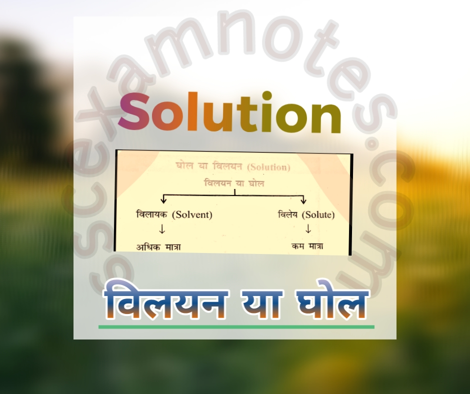 घोल या विलयन (solution)