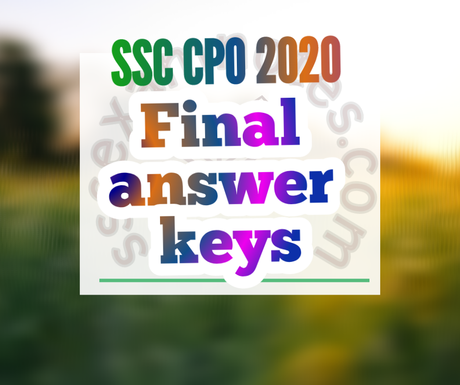 Ssc cpi 2020 final answer keys