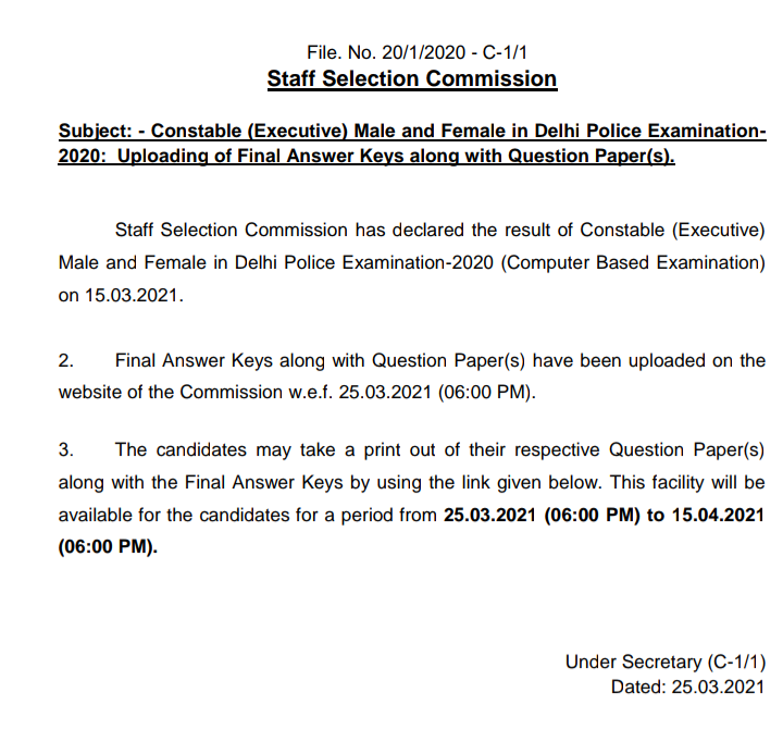 Constable(Executive) Delhi Police Examination- 2020: Uploading of Final Answer Keys along with Question Paper(s)